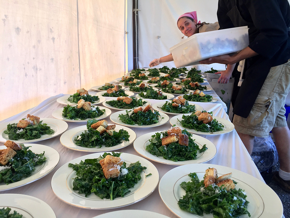 Kale salad with Simons Catering croutons