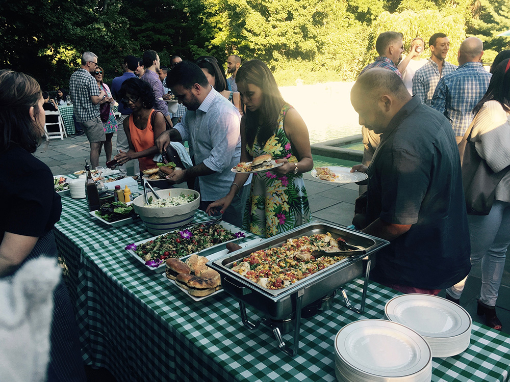 Catered outdoor dinner party in the Hudson Valley