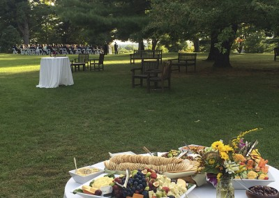 Outdoor Hudson Valley wedding ceremony. Simons food catering.