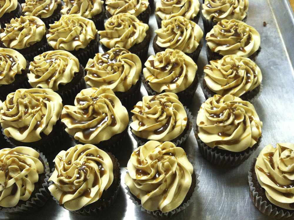 Salted caramel chocolate cupcakes. Simons food catering.
